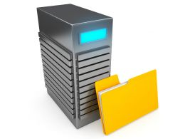 0914 Computer Server With Yellow Folder Stock Photo