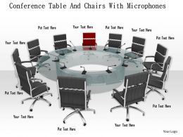 0914 Conference Table With Chairs Microphone Image Graphics For PowerPoint