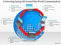 0914 Connecting Laptop All Around The World Communication Ppt Slide Image Graphics For Powerpoint