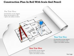 0914 Construction Plan In Roll With Scale And Pencil Image Graphics For PowerPoint