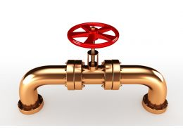 0914 Copper Pipeline With Red Valve In Center Stock Photo