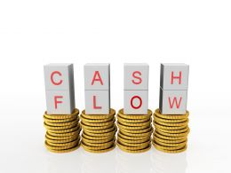 0914 Cube Cash Flow Word Top Coin Stacks Growth Concept Stock Photo