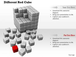 0914 Cubes Block And Individual Red Cube Teamwork Ppt Slide Image Graphics For Powerpoint