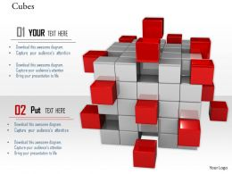 0914 Cubes Block With Few Red Color Cubes Image Graphics For PowerPoint