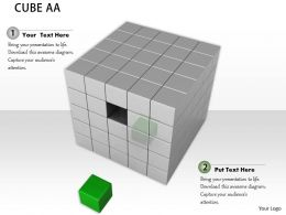 0914 Cubes Block With Individual Green Cube Ppt Slide Image Graphics For Powerpoint