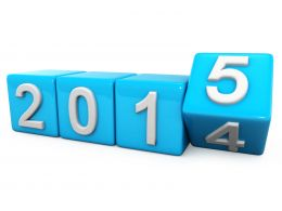 0914 Cubes Turn The Year 2014 Into New Year 2015 Stock Photo