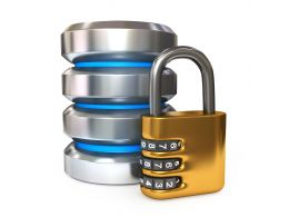 0914 Database Icon With Combination Lock For Security Stock Photo