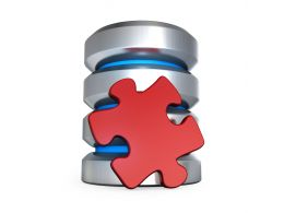 0914 Database Icon With Red Puzzle Piece Stock Photo