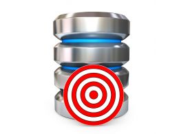 0914 Database Icon With Red Target Board Stock Photo