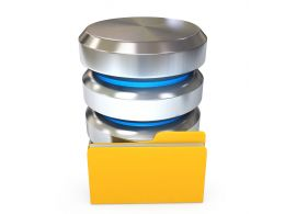 0914 Database Icon With Yellow Folder For Storage Stock Photo