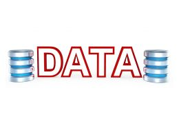 0914 Database Icons With Data Word In Center Stock Photo