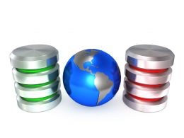 0914 Database Icons With Earth Globe In Center Stock Photo