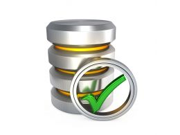 0914 Database Silver Icon With Green Tick Mark Stock Photo