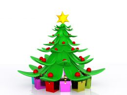 0914 Decorated Christmas Tree With Gifts Stock Photo
