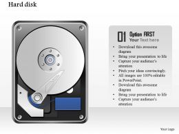 0914 Detailed Icons Of Open Hard Disk Drive With Platter And Reader Ppt Slide
