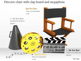 0914 Director Chair With Clap Board And Megaphone Image Graphics For PowerPoint
