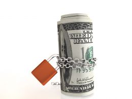 0914 Dollars Chained And Locked For Investment Stock Photo