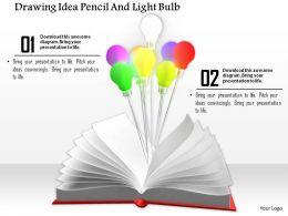 0914 Drawing Idea Pencil And Light Bulbs Ppt Slide Image Graphics For Powerpoint