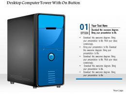 0914 Editable Image Of A Desktop Computer Tower With On Button Ppt Slide