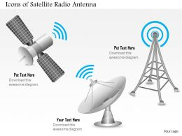0914 Editable Images Icons Of A Satellite Radio Antenna For Mobile Wireless And Satellite Dish Ppt Slide
