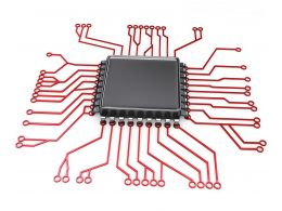 0914 Electronic Circuit Board With Processor Stock Photo
