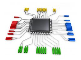 0914 Electronic Circuit With Chip Processor Stock Photo