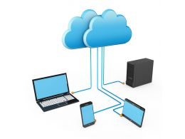 0914 Electronic Devices Connected Through Cloud Server Stock Photo