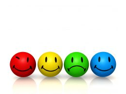 0914 Emotion Colorful Smileys In Line Image Graphic Stock Photo