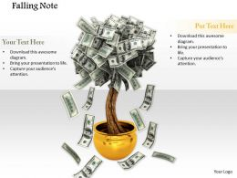 0914 Falling Currency Note Plant Potted Ppt Slide Image Graphics For Powerpoint