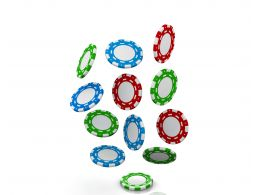 0914 Falling Red Blue And Green Poker Chips Money Graphic Stock Photo