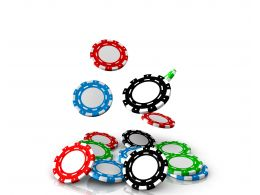 0914 Falling Red Blue Green And Black Poker Chips Game Graphic Stock Photo