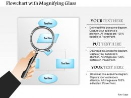 0914 Flow Chart With Magnifying Glass Showing Algorithm Analysis Ppt Slide
