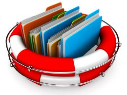 0914 Folders In Red And White Lifesaver Stock Photo