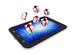0914 Gift Boxes Coming Out Of Pc Tablet Stock Photo