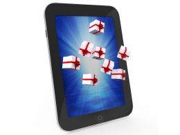 0914 Gift Boxes Flying Out From Pc Tablet Stock Photo