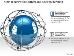 0914 Globe Ball Surrounding Electrons Neutrons Ppt Slide Image Graphics For Powerpoint