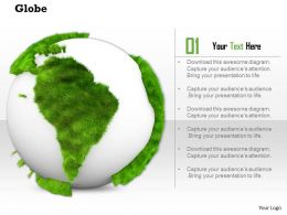 0914 Globe Grass Map Atlas Ppt Slide Image Graphics For Powerpoint