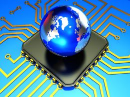 0914 Globe With Board And Electronic Circuit Stock Photo