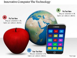 0914 Globe With Red Apple Smartphone Image Graphics For Powerpoint