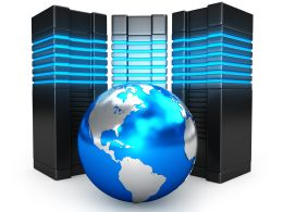 0914 Globe With Servers For Global Technology Solutions Stock Photo