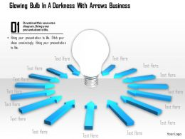 0914 Glowing Bulb Darkness With Arrows Image Graphics For Powerpoint