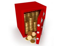 0914 Gold Coins Falling Out From Red Safe Stock Photo