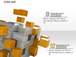 0914 Gold Grey Cubes Forming Block Ppt Slide Image Graphics For Powerpoint