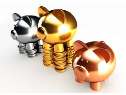 0914 Gold Silver And Bronze Piggy Banks Stock Photo