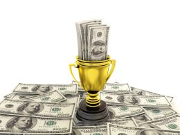 0914 Golden Cup Of The Winner Dollars Finance Graphic Stock Photo
