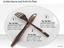 0914 Golden Fork Knife On Plate Image Graphics For Powerpoint