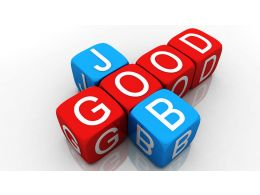 0914 Good Job Red Blue Cubes Success Graphic Stock Photo