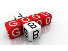 0914 Good Job Red White Cubes Image Graphic Stock Photo