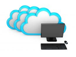 0914 Graphics Of Clouds With Laptop For Cloud Computing Stock Photo
