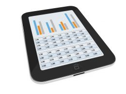 0914 Graphs On Tablet Modern Tools For Financial Planning Stock Photo